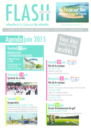 FLASH newsletter Agenda juin 2015